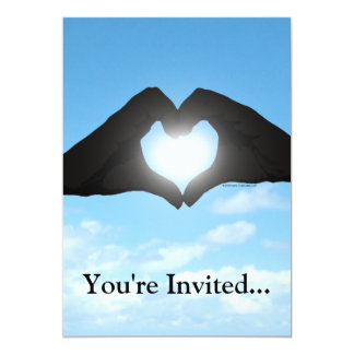Hands in Heart Shape Silhouette on Blue Sky 5x7 Paper Invitation Card