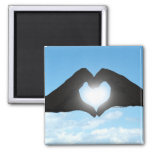 Hands in Heart Shape Silhouette on Blue Sky Magnets