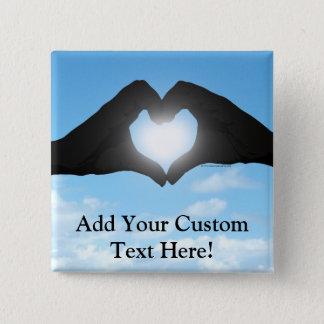 Hands in Heart Shape Silhouette on Blue Sky Pinback Button