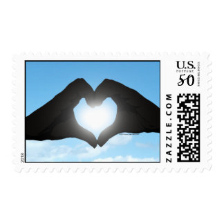 Hands in Heart Shape Silhouette on Blue Sky Postage