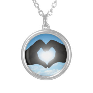 Hands in Heart Shape Silhouette on Blue Sky Silver Plated Necklace