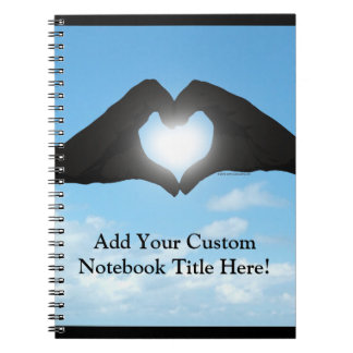 Hands in Heart Shape Silhouette on Blue Sky Spiral Note Book