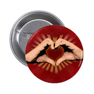 Hands in the Shape of a Heart, Love Design 2 Inch Round Button