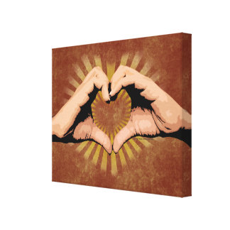 Hands in the Shape of a Heart, Love Design Stretched Canvas Prints