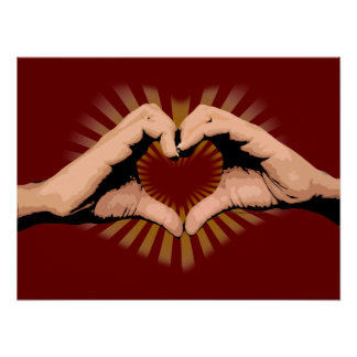Hands in the Shape of a Heart, Love Design Poster