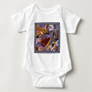 Hands Make Music w gray Baby Bodysuit