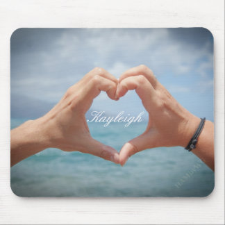 Hands making a heart mousepad- light background mouse pad