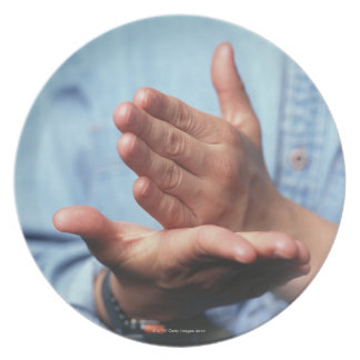 Hands making gesture: one hand held straight on dinner plate