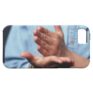 Hands making gesture: one hand held straight on iPhone SE/5/5s case