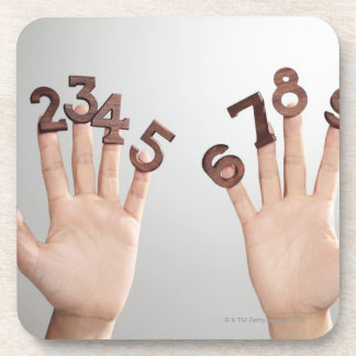 hands&numbers,hands close-up drink coaster
