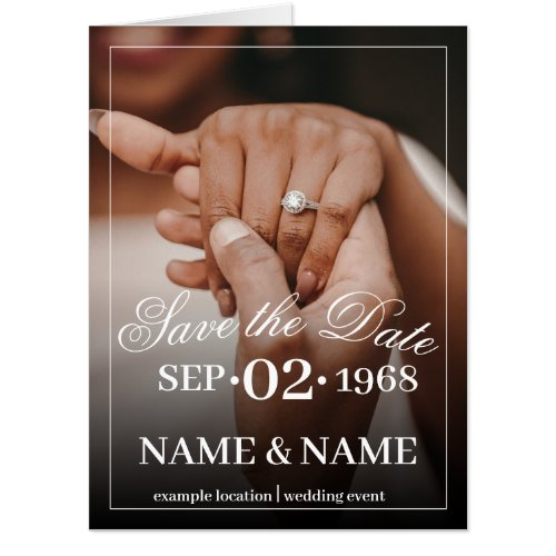 Hands of a colored wedding couple with ring card