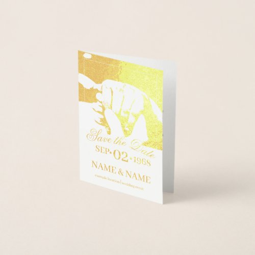 Hands of a colored wedding couple with ring foil card