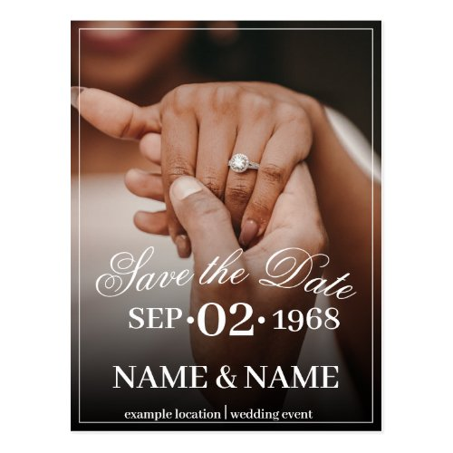 Hands of a colored wedding couple with ring postcard