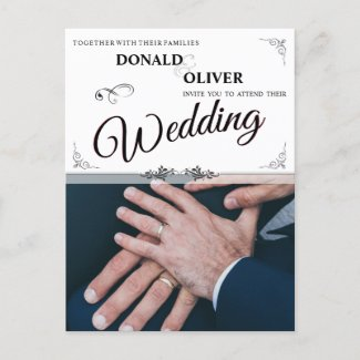 Hands Of A Gay Wedding Couple With Rings V 2.0 Invitation Postcard