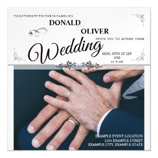 Hands Of A Gay Wedding Couple With Rings V 2.0 Magnetic Invitation