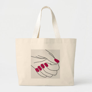 Hands of a lady with painted nails large tote bag