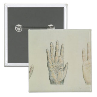 Hands of a primate and a human pinback button