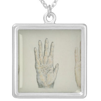 Hands of a primate and a human silver plated necklace