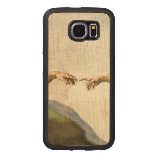 Hands of God & Adam by Michelangelo Wood Phone Case