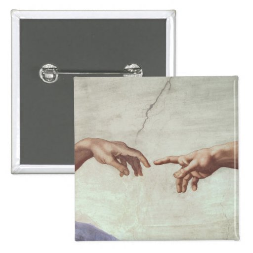 Hands of God and Adam 2 Inch Square Button