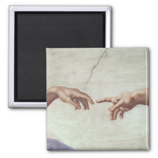 Hands of God and Adam 2 Inch Square Magnet
