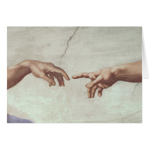 Hands of God and Adam Greeting Card