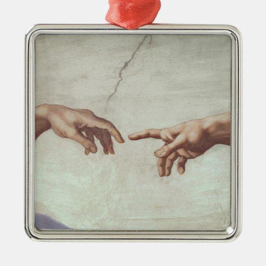 Hands of God and Adam Metal Ornament