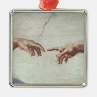 Hands of God and Adam Square Metal Christmas Ornament