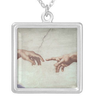 Hands of God and Adam Silver Plated Necklace