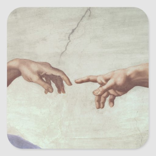 Hands of God and Adam Square Stickers