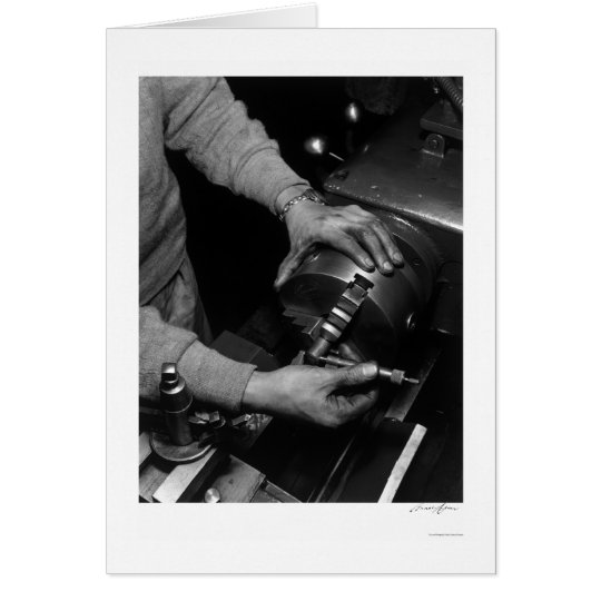Hands Of Lathe Worker 1943 Card