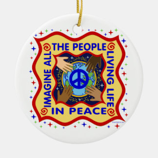 Hands of Peace Ceramic Ornament