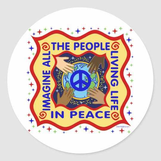 Hands of Peace Classic Round Sticker