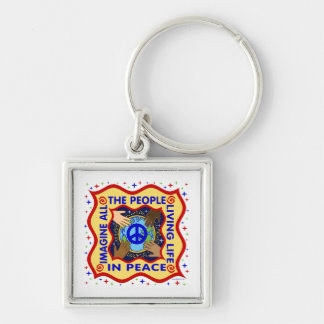 Hands of Peace Silver-Colored Square Keychain