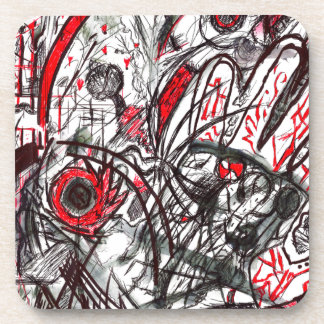 Hands of Rage Pen Drawing Beverage Coaster
