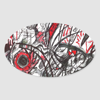 Hands of Rage Pen Drawing Oval Sticker
