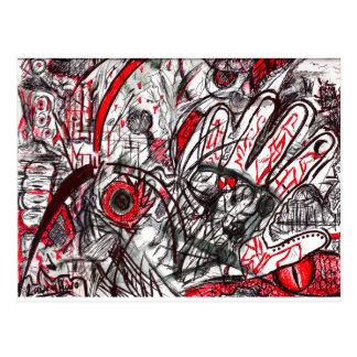 Hands of Rage Pen Drawing Postcard