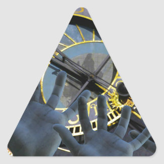 Hands of time triangle sticker