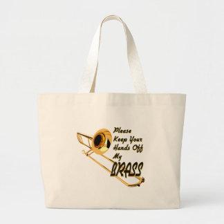 Hands Off Brass Trombone Tote Bags