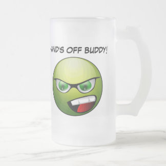 HAND'S OFF BUDDY! 16 oz. Beer Stein! Frosted Glass Beer Mug
