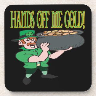 Hands Off Me Gold Beverage Coasters
