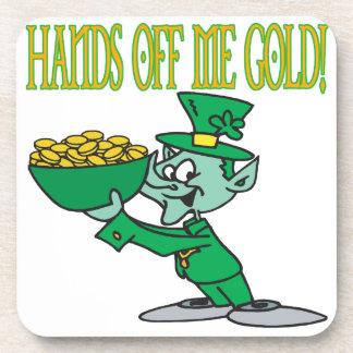 Hands Off Me Gold Beverage Coaster