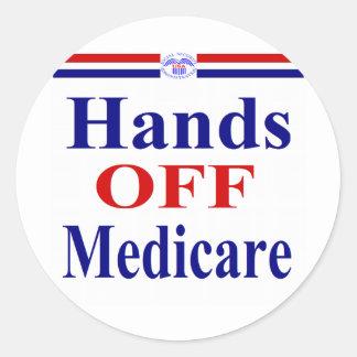 Hands Off Medicare Classic Round Sticker
