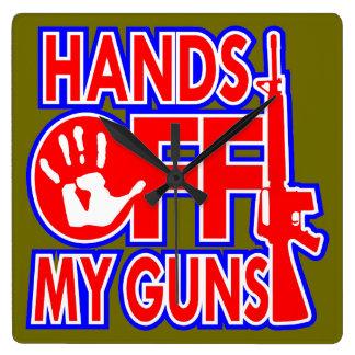 Hands Off My Guns (c) WhiteTigerLLC.com Square Wall Clock