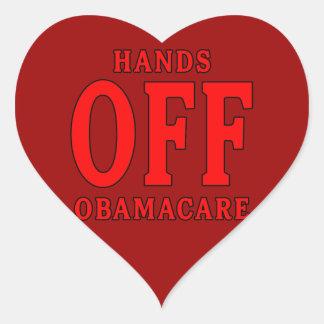 HANDS OFF OBAMACARE HEART STICKER