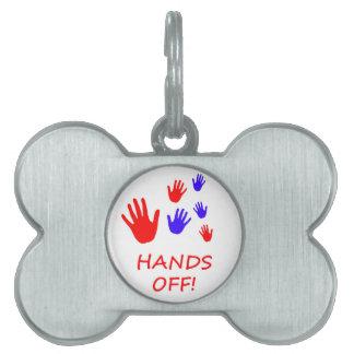 hands off pet tag