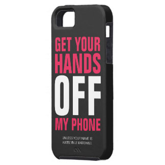 Hands OFF Phone Personalized Hot Pink iPhone 5 Cases