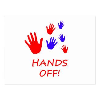 hands off postcard
