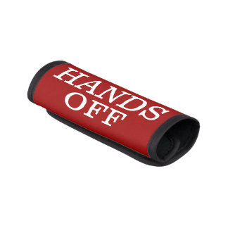 HANDS OFF Red White Luggage Handle Wrap