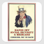Hands Off Social Security Square Sticker